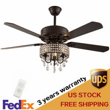 Crystal Ceiling Fan Light Remote Control Reversible Fandelier Chandelier Lights