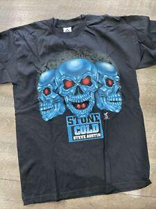Rare Vintage 90's Wwf Wcw Wwe Triple Blue Skulls Stone Cold Austin Shirt Sz L
