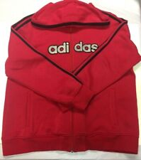 ADIDAS RED Full Zip HOODIE Kangaroo Pockets 3 stripe Jacket XL Flag Tag '07
