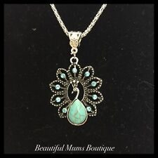 Turquoise Peacock Blue Crystal Glass Bird Gift Necklace Silver Pendant Yoga