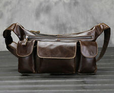 Men Leather Cowhide Vintage Multi-pocket Sling Chest Fanny Pack Waist Bag Pouch