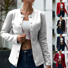 Women Open Front Button Blazer Jacket Ladies Long Sleeve Slim Fit Coat Outwear