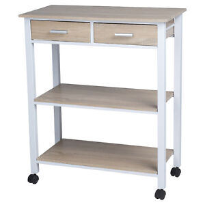 Homestyle 68.5x37x81cm Kitchen Island Rolling Trolley Storage Unit Serving Cart