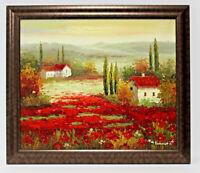 Red Poppy Landscape 20 x 24 Art Oil Painting on Canvas w/Custom Frame
