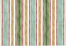 3.50 Yards Mill Creek Fabric Aqua Gold Red Off White Stripe  Drapery Upholstery