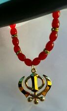 GOLD Plated Punjabi Sikh Khanda Pendant Car Rear Mirror Hanging Red beads Gift