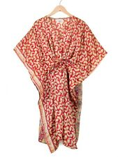 WOMENS LADIES KAFTAN SHORT DRESS VINTAGE SILK SARI DRESS RED PAISLEY KIMONO