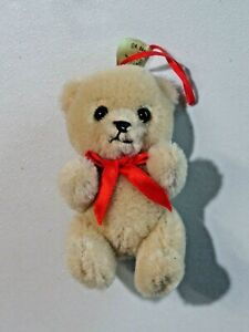 "R. Dakin Plush Bear Christmas Ornament 1985 Articulated Arms Legs 3 1/2"""