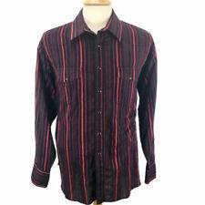 Wrangler Men's Pearl Snap Western Shirt Red Black Stripe Size Xxl 2Xl