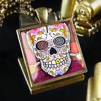 Day of the Dead Sugar Skull Tattoo Bronze Handmade Punk Rock Pendant Necklace