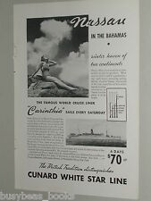 1937 CUNARD White Star advertisement RMS Carinthia to the Bahamas bathing beauty