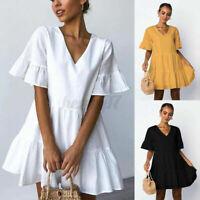 ZANZEA Womens Summer Ruffle Sleeve Smock Shirt Dress V Neck Frill Mini Sundress