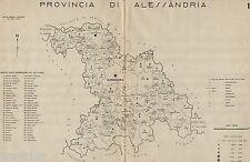 Provincia di Alessandria:Comuni nel 1938.Carta Topografica.Anno XVI Era Fascista
