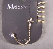 "Gold tone CROSS crystal stud earrings wide ear Cuff 1.5"" long chain dangle"