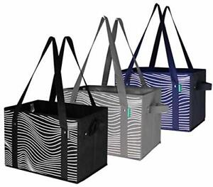 Reusable COLLAPSIBLE Grocery Bag Shopping Box Tote Reinforced- (Set of 3)