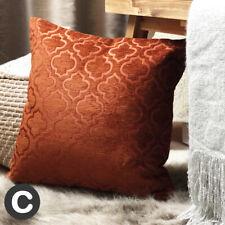 Luxury Burnt Orange Rust TWO PACK of Plush Cushion Covers 43cm Geometric