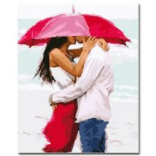 Paint By Number Kit Beach Couple Kiss Love Umbrella DIY Picture 40x50cm Canvas