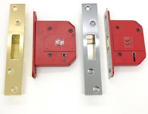 "Union 5 Lever Mortice DeadLock High Security BS Kite Mark Brass Chrome 2.5"" &3"""