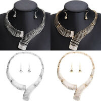Women Chunky Choker Bib Statement Pendant Chain Collar Necklace Charm Jewelry