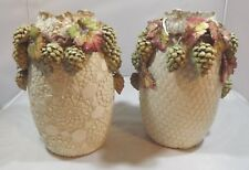 Pair (Not Matching) of Antique Victorian Pottery Vases, Stamped 'Bradley' Grapes