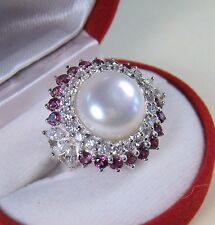 12.5 mm PEARL & RHODOLITE/SAPPHIRE RING 2.33 CTW sz 7 WHITE GOLD over 925 SILVER