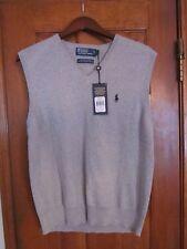 POLO RALPH LAUREN Mens Large Casual V-Neck Sweater Vest Gray Cotton