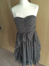Lovely DARLING Grey & white spotty strapless style dress size medium