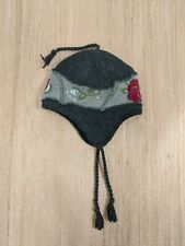 REI Winter Hat One Size Fits Most Wool Blend Gray Floral Details