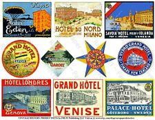 Hotel Luggage Labels, 2 Sticker Sheets, Baggage Labels, Vintage Travel Art Paper