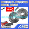 Drilled & Grooved 4 Stud 240mm Solid Brake Discs (Pair) D_G_297 with Apec Pads
