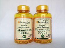 2 Bottles (400 Softgels) Puritan's Pride Sunvite Mega-Potency Vitamin D3 5000 IU