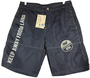 New North Sails Keep Away From Land Blue Shorts Men's Size Small S