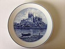 "MEISSEN Porcelain Plate 1970s Albrechtsburg CASTLE on Elbe River 10 1/4"" 1970s"