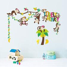 Wandtattoo Zoo Wandsticker Lustige Wandbild Affe dekorativ Kinderzimmer Baum