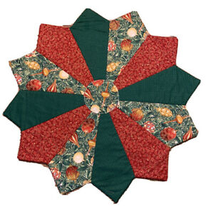 """Hand Made Quilted Christmas Table Runner Topper Mat Centerpiece 21"""""""