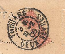 TIMBRE COUPÉ sur carte, Semeuse n°129 10c, Thouars  Taizé, Deux-Sèvres, TB