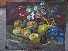 Natura morta  frutta e fiori  di Riccardo Capone BELL'olio su tavola mis. 40x29