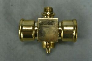 Antique UNBRANDED POLISHED BRASS VALVE 2 MALE 2 FEMALE CONNECTORS 1 DRIP #02514