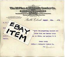 1905 LETTERHEAD Pueblo Colorado McPHEE & McGINNITY LUMBER COMPANY J.H. Bardwell