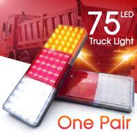 2X 75 LED Tail Lights Ute Trailer Caravan Truck Boat Stop Reverse Indicator 12V