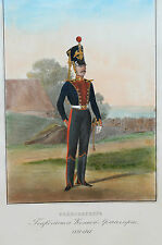 rare hand colored litho 1861 Russian Imperial Gunner Guards horse artillery 1828