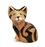 "Artesania Rinconada Oriental Cat Figurine Vintage Uruguay Carved Ceramic 3.75"""