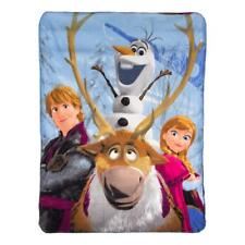 """Frozen Fleece Throw Disney 46"""" x 60"""" Anna Olaf Kristoff Blanket Out in the Cold"""