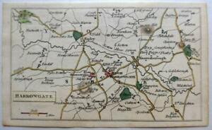 HARROGATE YORKSHIRE  MINIATURE MAP c1815  GENUINE ANTIQUE ENGRAVING