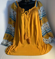 NEW Tru Self Plus Size 2X Dark Yellow And Blue Floral Boho Shirt Top Blouse