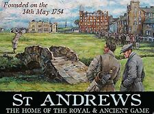 St Andrews Golf Players at Swilcan Burn small steel sign 200mm x 150mm (og)