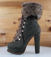 """Luichiny Stand By Army Green 5"""" Block High Heel Platform Furry Ankle Boot 7- 11"""