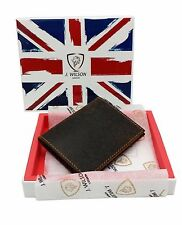 MENS DESIGNER REAL LEATHER SLIM RAW HAND CRAFTED WALLET CREDIT CARD HOLDER PURSE