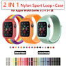 2 In 1 Nylon Case Band Sport Strap Replacement For Apple Watch Series 6 5 4 SE