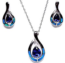 Tanzanite & Blue Fire Opal Inlay 925 Sterling Silver Earrings Necklace set 18''